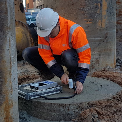 Sonic Integrity Testing of piles (diam. 1120 mm) in Riga, for designed Hilton hotel.