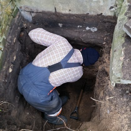 Excavation and investigation of existing fundaments (Riga, Latvia).
