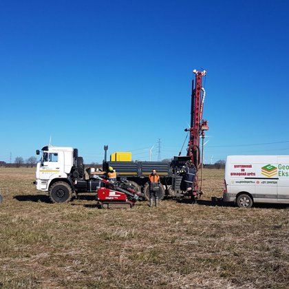 """Ģeo Eksperts"" equipment during field works for designed Wind park in Ventspils (Latvia)"