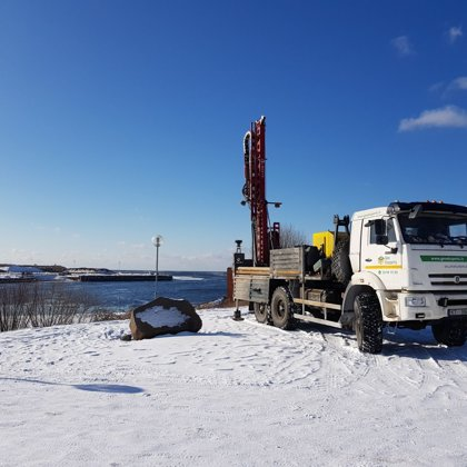 Geotechnical drilling in Salacgrīva port (Latvia).