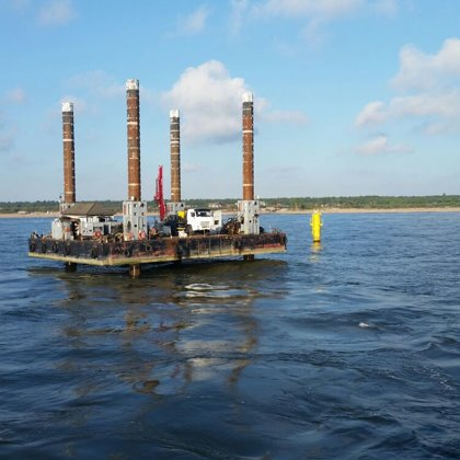 Drilling from self-elevating platform in Klaipeda port area (Lithuania)