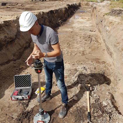Testing of soil's bearing capacity (Zvejniekciems, Latvia)