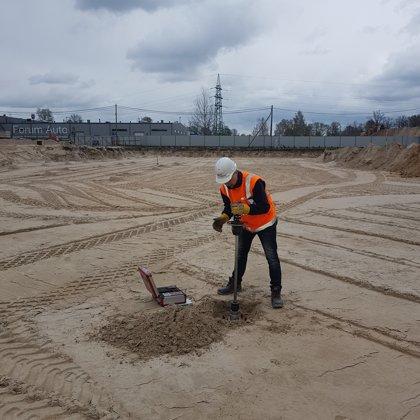 Проверка несущей способности песка методом динамического штампа